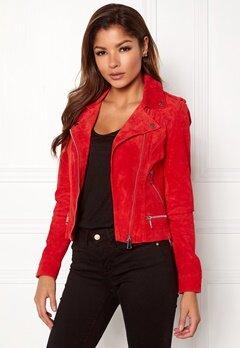VERO MODA Royce Short Suede Jacket Flame Scarlet Bubbleroom.se
