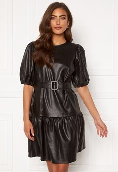 VERO MODA Serena Coated Belt Dress Black Bubbleroom.se