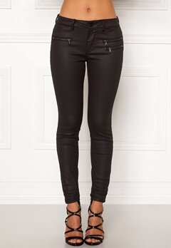 VERO MODA Seven MR Slim Coated Pan Black Bubbleroom.se