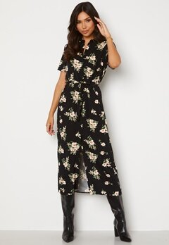 VERO MODA Simply Easy SS Long Shirt Dress Black AOP: Sandy Bubbleroom.se