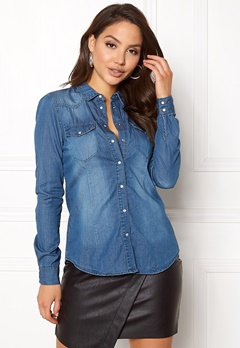 VERO MODA Vera LS Denim Shirt Medium Blue Denim Bubbleroom.se