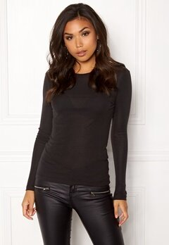 VERO MODA Vita O-Neck LS Top GA Black Bubbleroom.se