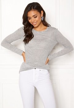 VERO MODA Vita O-Neck LS Top GA Light Grey Melange Bubbleroom.se