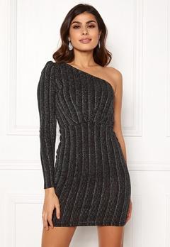 VERO MODA Wiona One Shoulder Short Dress Black Silver Lurex Bubbleroom.se