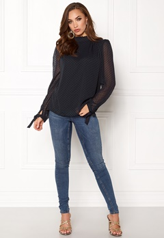 VILA Amo L/S Top Dark Navy Bubbleroom.se