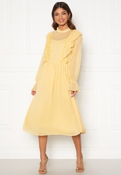 VILA Ashlynn Highneck L/S Dress Sunlight Bubbleroom.se