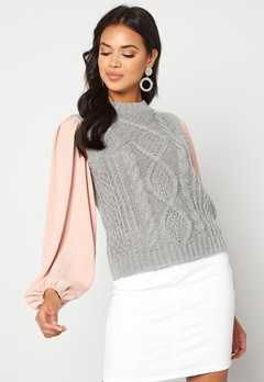 VILA Atlan Knit Vest Light Grey Melange Bubbleroom.se