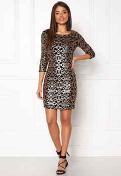 VILA Beady 3/4 Dress Black Detail Gold Bubbleroom.fi
