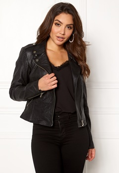 VILA Becky Leather Jacket Black Bubbleroom.se