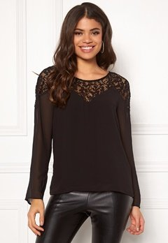 VILA Bekida Lace L/S Top Black Bubbleroom.se