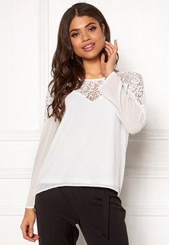 VILA Bekida Lace L/S Top Snow White Bubbleroom.se