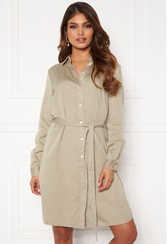VILA Bista Denim Belt Dress Simply Taupe Bubbleroom.se