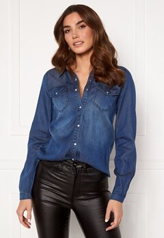 VILA Bista Denim Shirt Dark Blue Denim Bubbleroom.se
