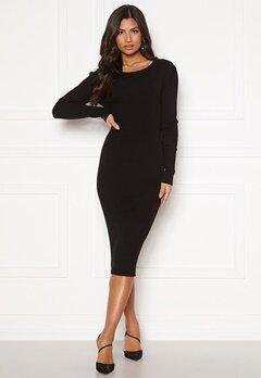 VILA Bolonia Knit L/S Midi Rib Dress Black Bubbleroom.se