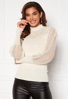 VILA Cafas L/S Knit Top Snow White Bubbleroom.se