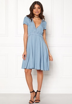 VILA Calan s/s Denim Dress Light Blue Denim Bubbleroom.se