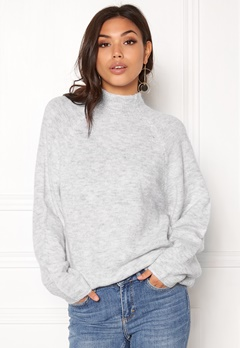 VILA Cant L/S Knit Top Light Grey Melange Bubbleroom.fi