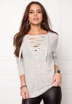 VILA Cant String Knit Top Light Grey Melange Bubbleroom.se
