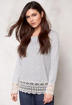 VILA Central L/S Crochet Top Light Grey Melange Bubbleroom.no