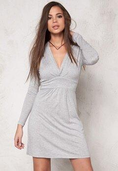VILA Chaos Wrap Dress Light Grey Melange Bubbleroom.no