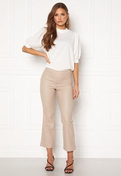 VILA Commit Coated HWSL Cropped Pants Simply Taupe Bubbleroom.se