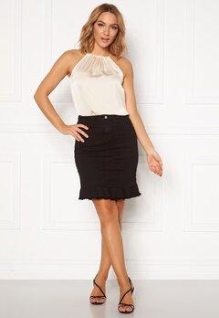 VILA Commit Peplum Denim Skirt Black Bubbleroom.se