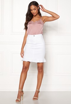79c63a80fc9f VILA Commit Peplum Denim Skirt White Alyssum Bubbleroom.se