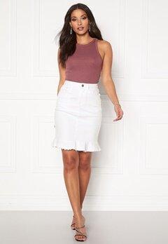 VILA Commit Peplum Denim Skirt White Alyssum Bubbleroom.se