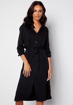 VILA Dania Belt L/S Shirt Dress Black Bubbleroom.se