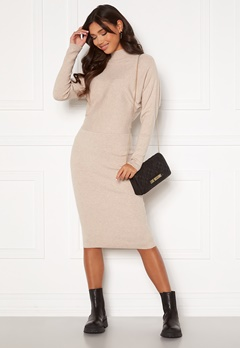 VILA Elasta 3/4 Sleeve Knit Dress Natural Melange Bubbleroom.se