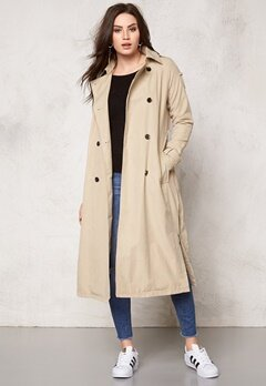 VILA Emmely long Trenchcoat Soft Camel Bubbleroom.se