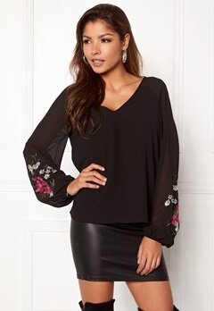 VILA Felica L/S Top Black Bubbleroom.fi