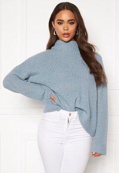 VILA Glippa L/S Knit Ashley Blue Bubbleroom.se