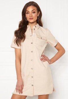 VILA Glove S/S Denim Dress Whisper White Bubbleroom.se