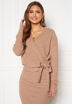 VILA Haudi L/S Wrap Knit Cardigan Nomad Bubbleroom.se