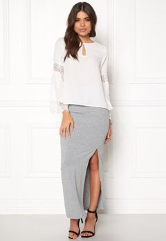 VILA Honesty New Maxi Skirt Light Grey Melange Bubbleroom.se