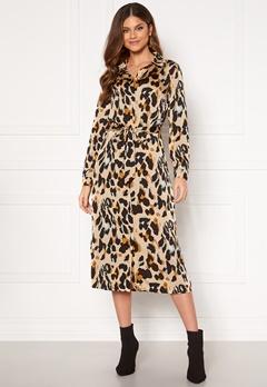 VILA Jolie L/S Shirt Dress Nomad AOP Leopard Bubbleroom.se