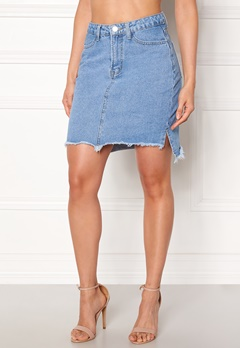 VILA Jules HW Slit Skirt Light Blue Denim Bubbleroom.se