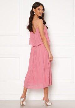 VILA Katelyn S/L Pleated Midi Dress Wild Rose Bubbleroom.se