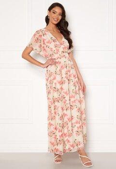 VILA Kathryn S/S Ankle Dress Cloud Dancer Flower bubbleroom.se