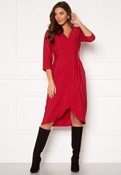 VILA Kri 3/4 Wrap Dress Jetser Red Bubbleroom.se
