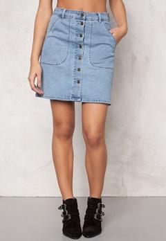 VILA Lagos Denim Skirt Light Blue Denim Bubbleroom.se