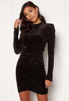 VILA Leopanda L/S Dress Black, Detail: Leo Bubbleroom.se