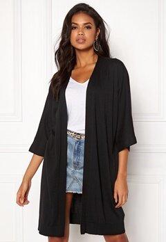 VILA Lesly 3/4 Sleeve Knit Cardigan Black Bubbleroom.se