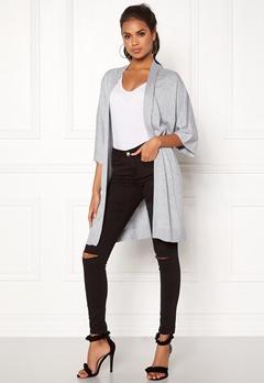 VILA Lesly 3/4 Sleeve Knit Cardigan Light Grey Melange Bubbleroom.se