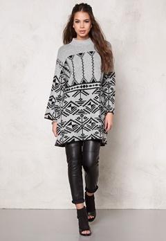 VILA Lilas Knit Long Top Light Grey Melange Bubbleroom.se