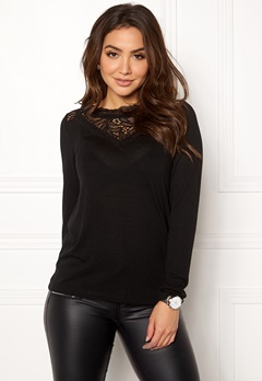 VILA Lolla L/S Top Black Bubbleroom.se
