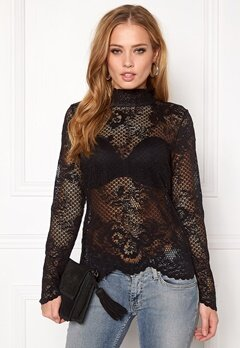 VILA Loras l/s Lace Top Black Bubbleroom.fi