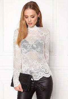 VILA Loras l/s Lace Top Pristine Bubbleroom.se