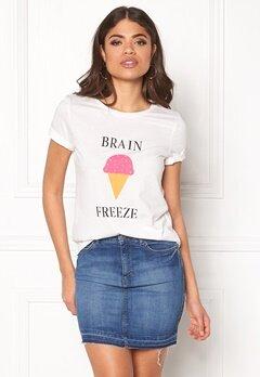 VILA Lovina New T-Shirt White Print Brain Bubbleroom.dk